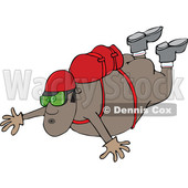 Clipart of a Nude Black Man Skydiving - Royalty Free Vector Illustration © djart #1519178
