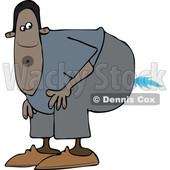 Clipart of a Cartoon Black Man Farting a Blue Flame - Royalty Free Vector Illustration © djart #1519179
