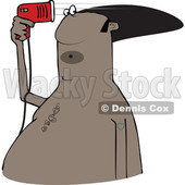 Clipart of a Cartoon Black Man Blow Drying His Hair - Royalty Free Vector Illustration © djart #1519180