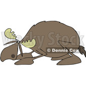 Clipart of a Cowering Scared Moose - Royalty Free Vector Illustration © djart #1522417