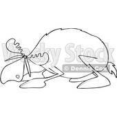 Clipart of a Black and White Cowering Scared Moose - Royalty Free Vector Illustration © djart #1522418