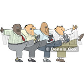 Clipart of a Cartoon Chorus Line of Business Men Dancing the Can Can - Royalty Free Vector Illustration © djart #1522925