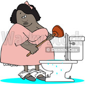 Clipart of a Cartoon Black Woman Plunging an Overflowing Toilet - Royalty Free Vector Illustration © djart #1528766
