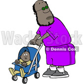 Clipart of a Cartoon Black Dad Pushing a Baby in a Stroller - Royalty Free Vector Illustration © djart #1529546