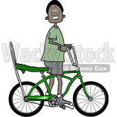 Clipart of a Happy Black Boy Riding a Stingray Bicycle - Royalty Free Vector Illustration © djart #1530660