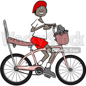 Clipart of a Happy Black Girl Riding a Stingray Bicycle - Royalty Free Vector Illustration © djart #1530662