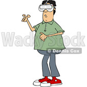 Clipart of a Cartoon Man Wearing Virtual Reality Goggles - Royalty Free Vector Illustration © djart #1530801