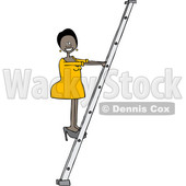 Clipart of a Cartoon Happy Successful Black Business Woman Climbing a Ladder - Royalty Free Vector Illustration © djart #1530802