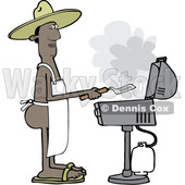 Clipart of a Cartoon Nude Black Man Wearing an Apron and Cooking on a Bbq Grill - Royalty Free Vector Illustration © djart #1531013