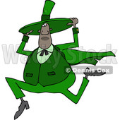 Clipart of a Cartoon Chubby Black St Patricks Day Leprechaun Holding His Hat and Running - Royalty Free Vector Illustration © djart #1531384
