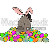 Clipart of a Grumpy Black Man Wearing Bunny Ears and Popping out of a Pile of Decorated Easter Eggs - Royalty Free Vector Illustration © djart #1531385