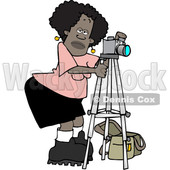 Clipart of a Black Female Photographer Taking Pictures with a Camera on a Tripod - Royalty Free Vector Illustration © djart #1532239