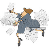 Clipart of a Business Woman Slipping with Papers Flying Around - Royalty Free Vector Illustration © djart #1532348