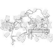 Clipart of a Group of Black and White Business Women Falling with Papers Flying Around - Royalty Free Vector Illustration © djart #1532350