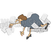 Clipart of a Business Woman Falling with Papers Flying Around - Royalty Free Vector Illustration © djart #1532352