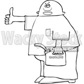 Clipart of a Lineart Man Holding a Gas Can and Hitchhiking - Royalty Free Vector Illustration © djart #1532999