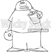 Clipart of a Lineart Man Sipping a Fountain Soda and Holding a Donut - Royalty Free Vector Illustration © djart #1533000