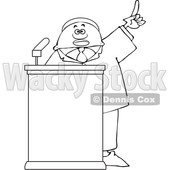 Clipart of a Lineart Black Male Politician Holding up a Finger at a Podium - Royalty Free Vector Illustration © djart #1533001