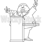 Clipart of a Lineart Black Male Politician Gesturing Peace or Victor at a Podium - Royalty Free Vector Illustration © djart #1533002