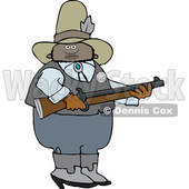 Clipart of a Black Male Sheriff Holding a Rifle - Royalty Free Vector Illustration © djart #1533004