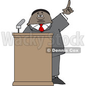 Clipart of a Black Male Politician Holding up a Finger at a Podium - Royalty Free Vector Illustration © djart #1533007