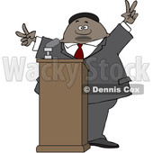 Clipart of a Black Male Politician Gesturing Peace or Victor at a Podium - Royalty Free Vector Illustration © djart #1533008