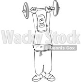 Clipart of a Lineart Black Man Working out with a Barbell - Royalty Free Vector Illustration © djart #1533541