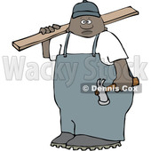 Clipart of a Black Male Carpenter Carrying a Wood Board - Royalty Free Vector Illustration © djart #1533542