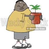 Clipart of a Cartoon Black Man Carrying a Potted Plant or Tree - Royalty Free Vector Illustration © djart #1534855
