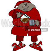 Clipart of a Cartoon Black Man in Slippers and Pajamas, Pouring His Morning Coffee - Royalty Free Vector Illustration © djart #1534856