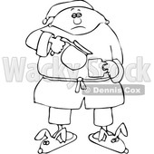 Clipart of a Cartoon Lineart Black Man in Slippers and Pajamas, Pouring His Morning Coffee - Royalty Free Vector Illustration © djart #1534857