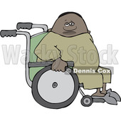 Clipart of a Cartoon Black Man in a Wheelchair - Royalty Free Vector Illustration © djart #1534858