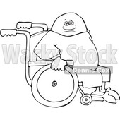 Clipart of a Cartoon Lineart Black Man in a Wheelchair - Royalty Free Vector Illustration © djart #1534859