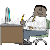 Clipart of a Black Business Man Working at an Office Desk - Royalty Free Vector Illustration © djart #1535122