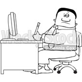 Clipart of a Lineart Black Business Man Working at an Office Desk - Royalty Free Vector Illustration © djart #1535123