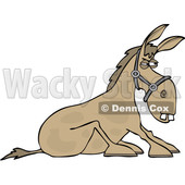 Clipart of a Cartoon Stubborn Donkey Refusing to Get up - Royalty Free Vector Illustration © djart #1535507
