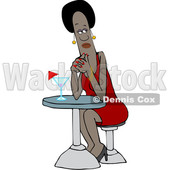 Clipart of a Black Woman Waiting on Her Date - Royalty Free Vector Illustration © djart #1540222