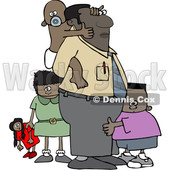 Clipart of a Cartoon Black Father and His Kids - Royalty Free Vector Illustration © djart #1544733