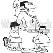Clipart of a Lineart Cartoon Black Father and His Kids - Royalty Free Vector Illustration © djart #1544734