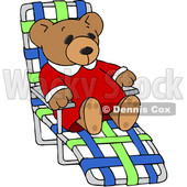 Clipart of a Teddy Bear Relaxing on a Beach Chair - Royalty Free Vector Illustration © djart #1545151