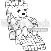 Clipart of a Black and White Teddy Bear Relaxing on a Beach Chair - Royalty Free Vector Illustration © djart #1545152