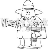 Clipart of a Cartoon Lineart Male Ranger Holding a Flashlight and Firearm - Royalty Free Vector Illustration © djart #1551005