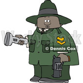 Clipart of a Cartoon Black Male Ranger Holding a Flashlight and Firearm - Royalty Free Vector Illustration © djart #1551006