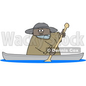 Clipart of a Cartoon Black Man Rowing a Canoe - Royalty Free Vector Illustration © djart #1551007