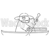Clipart of a Cartoon Lineart Man Rowing a Canoe - Royalty Free Vector Illustration © djart #1551008