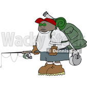 Clipart of a Cartoon Black Man with Camping and Fishing Gear - Royalty Free Vector Illustration © djart #1551009