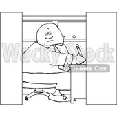 Clipart of a Cartoon Lineart Man Writing in His Office Cubicle - Royalty Free Vector Illustration © djart #1551012