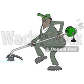 Clipart of a Cartoon Black Male Landscaper or Gardener Using a Weed Trimmer - Royalty Free Vector Illustration © djart #1551073