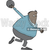 Clipart of a Cartoon Black Man Swinging a Bowling Ball - Royalty Free Vector Illustration © djart #1551682
