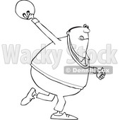 Clipart of a Cartoon Lineart Man Swinging a Bowling Ball - Royalty Free Vector Illustration © djart #1551683